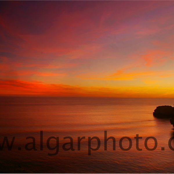Sunset over Praia da Marinha Algarve Portugal